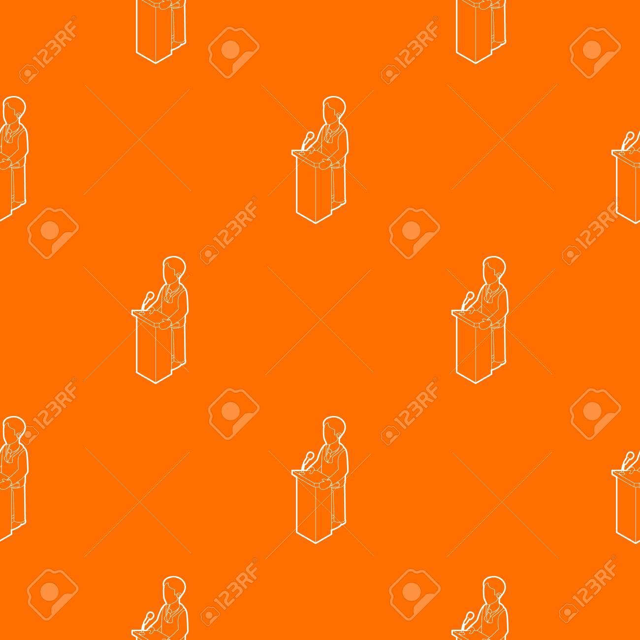 Orator speaking from tribune. Outline illustration of orator speaking from tribune vector pattern vector orange for any web design best - 130251621