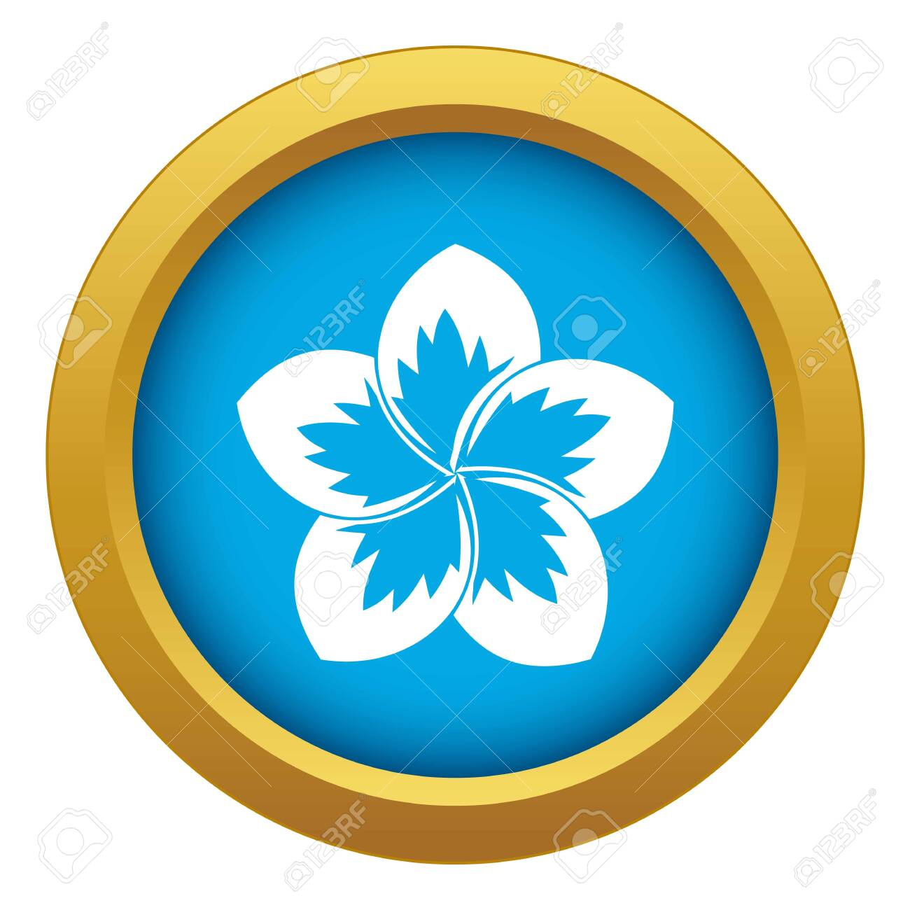 Frangipani flower icon blue vector isolated on white background for any design - 130251916