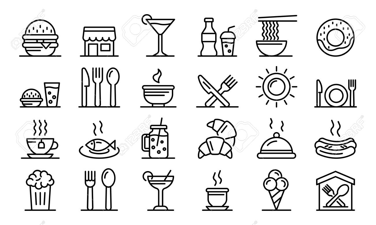 Food courts icons set. Outline set of food courts vector icons for web design isolated on white background - 130255631