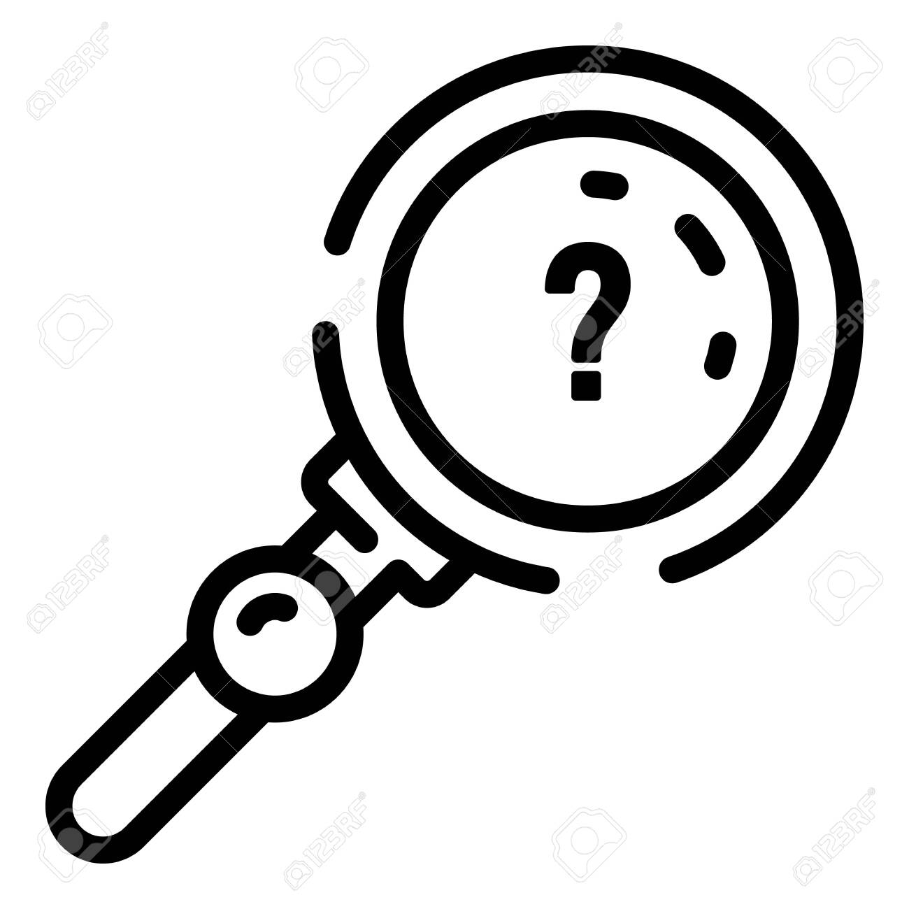 Quest question magnify glass icon, outline style - 128640934