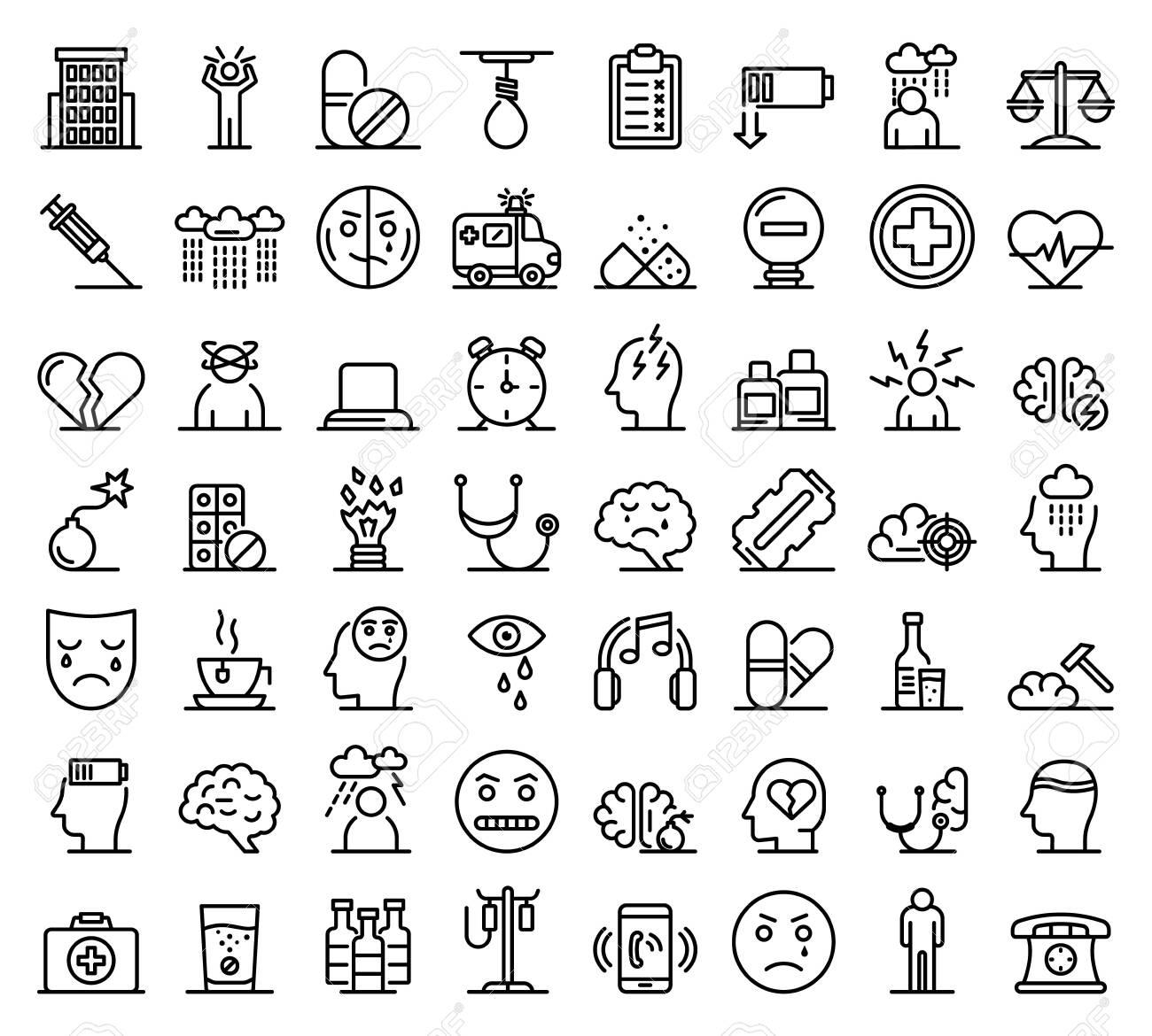 Depression icons set, outline style - 128639142