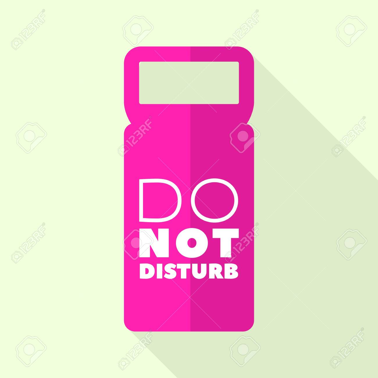 Pink door tag icon, flat style - 129338241