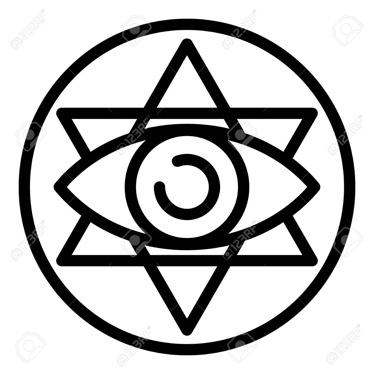 Eye alchemy emblem icon, outline style - 129981345