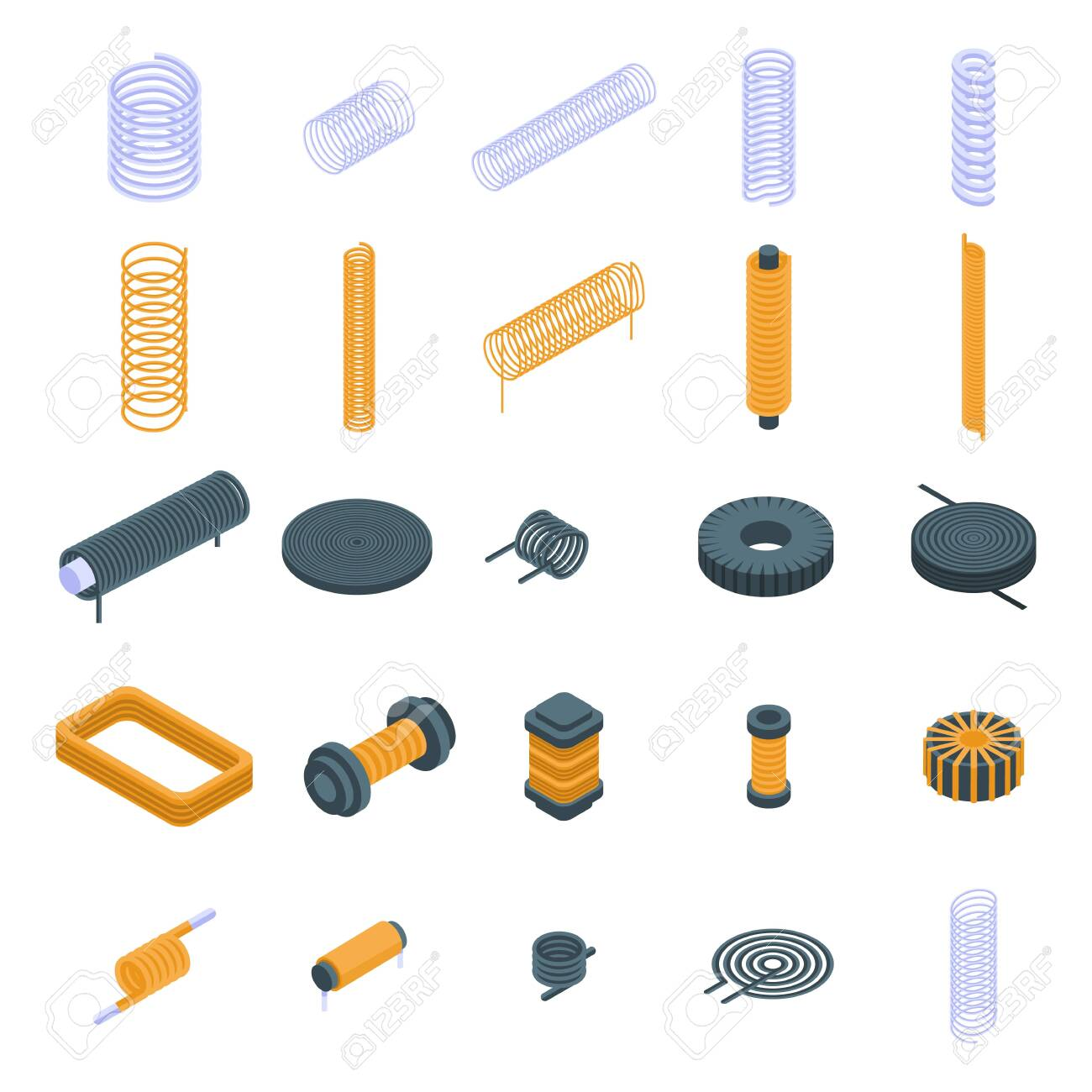 Coil icons set, isometric style - 131103150
