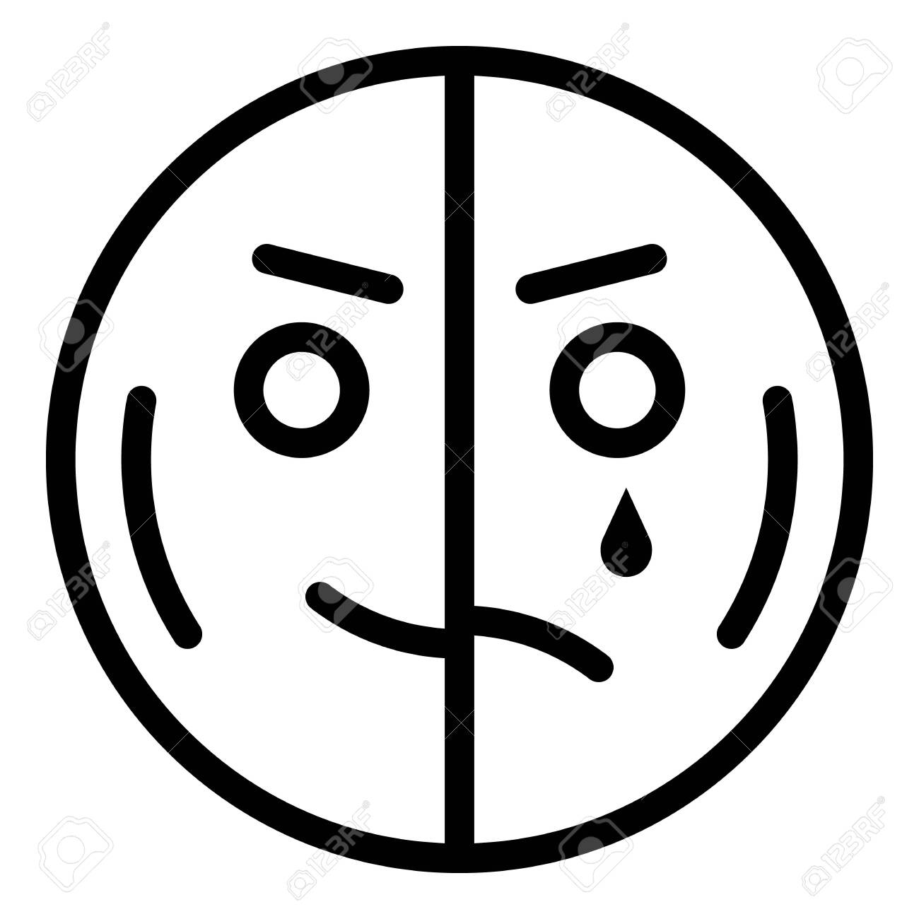 Happy Half Sad Emoji Icon Outline Style Royalty Free Cliparts Vectors And Stock Illustration Image 133400560