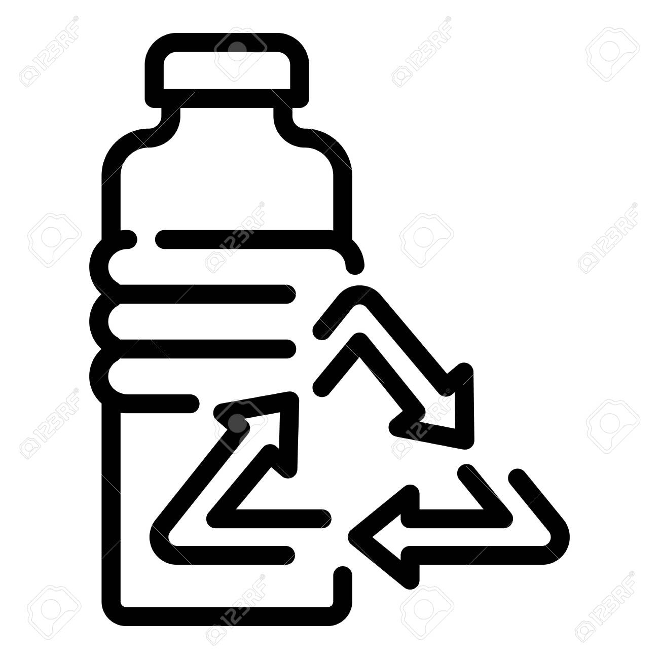 Recycling bottle icon. Outline recycling bottle vector icon for web design isolated on white background - 133411973
