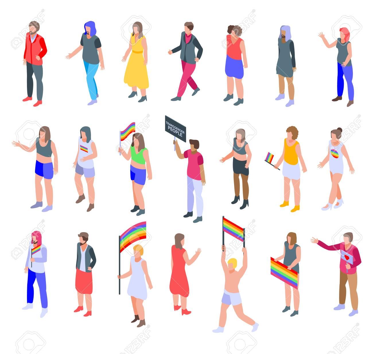 Transgender people icons set, isometric style - 138463797