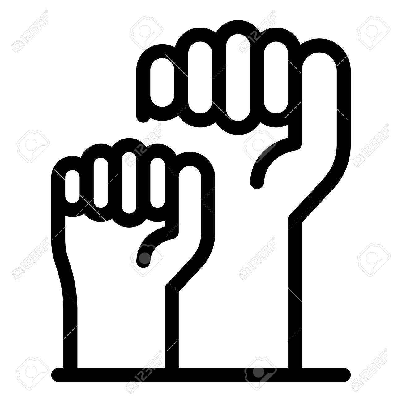 Fist empowerment icon, outline style - 153300754