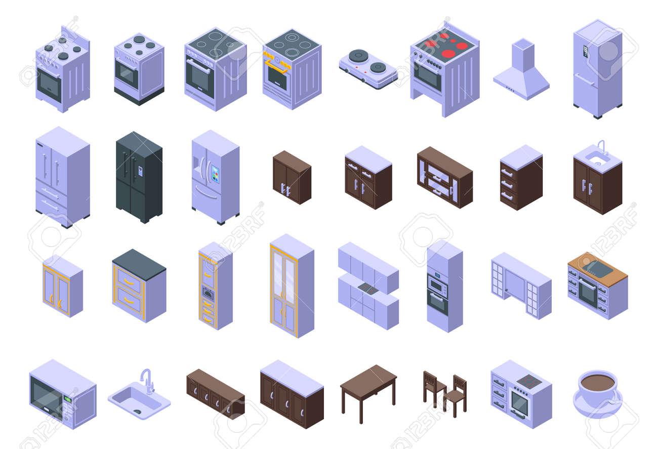 Kitchen furniture icons set. Isometric set of kitchen furniture vector icons for web design isolated on white background - 167847852