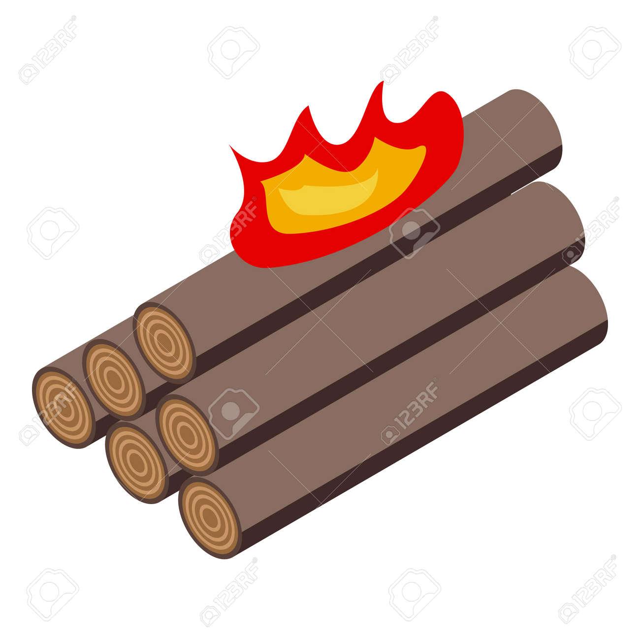 Burning logs icon. Isometric of Burning logs vector icon for web design isolated on white background - 169992828