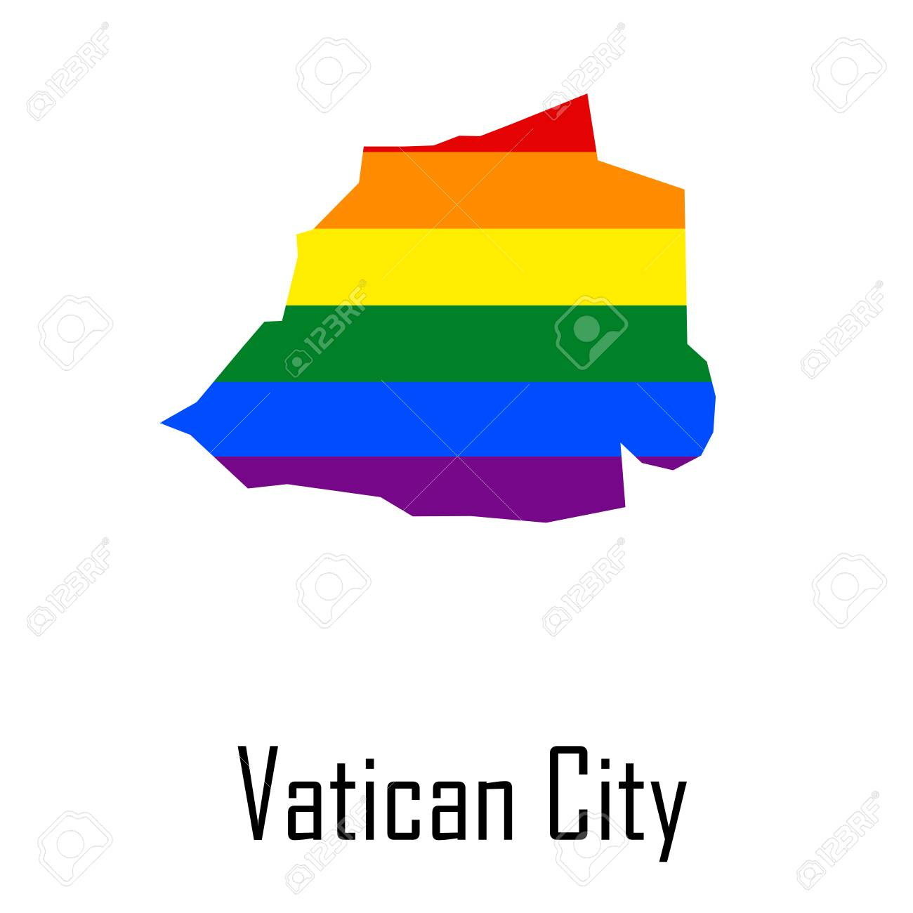 Vector rainbow map of Vatican City in colors of LGBT - lesbian,