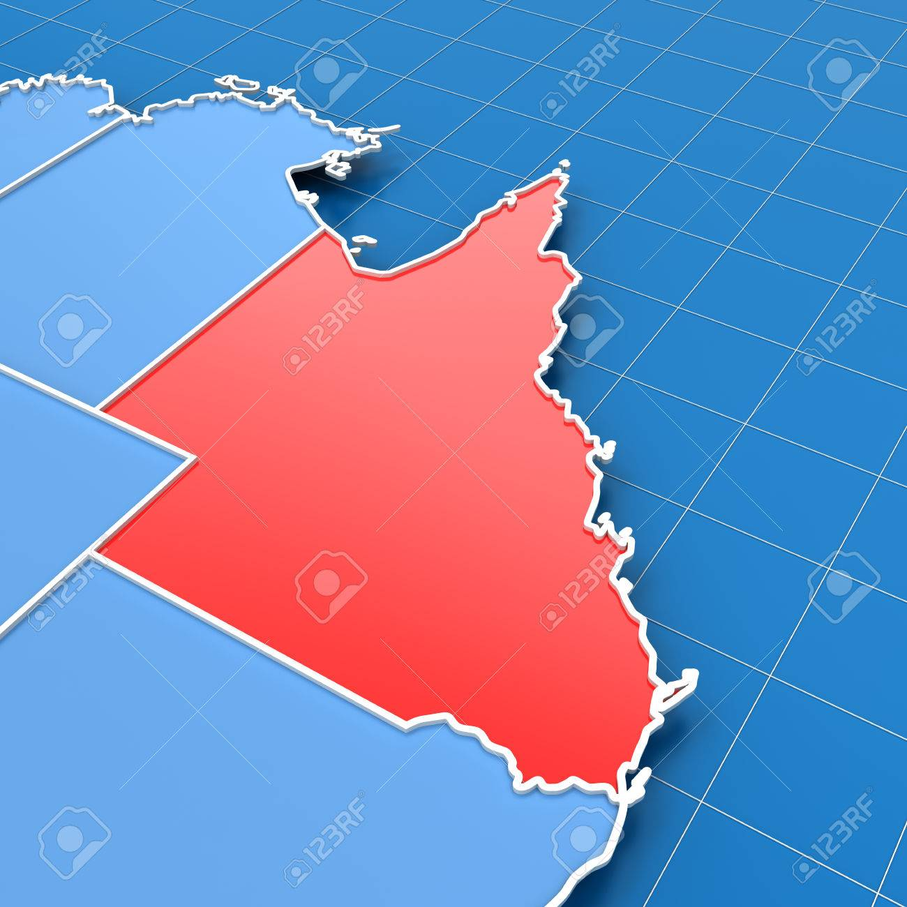 3d render of australia map with queensland highlighted stock photo 36960172