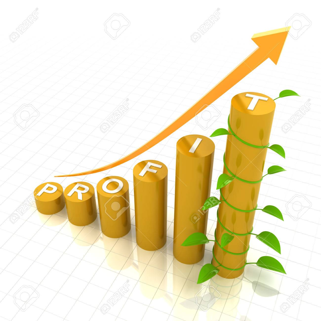 Profit Growth Chart With Young Plant, 3d Render, White Background ...