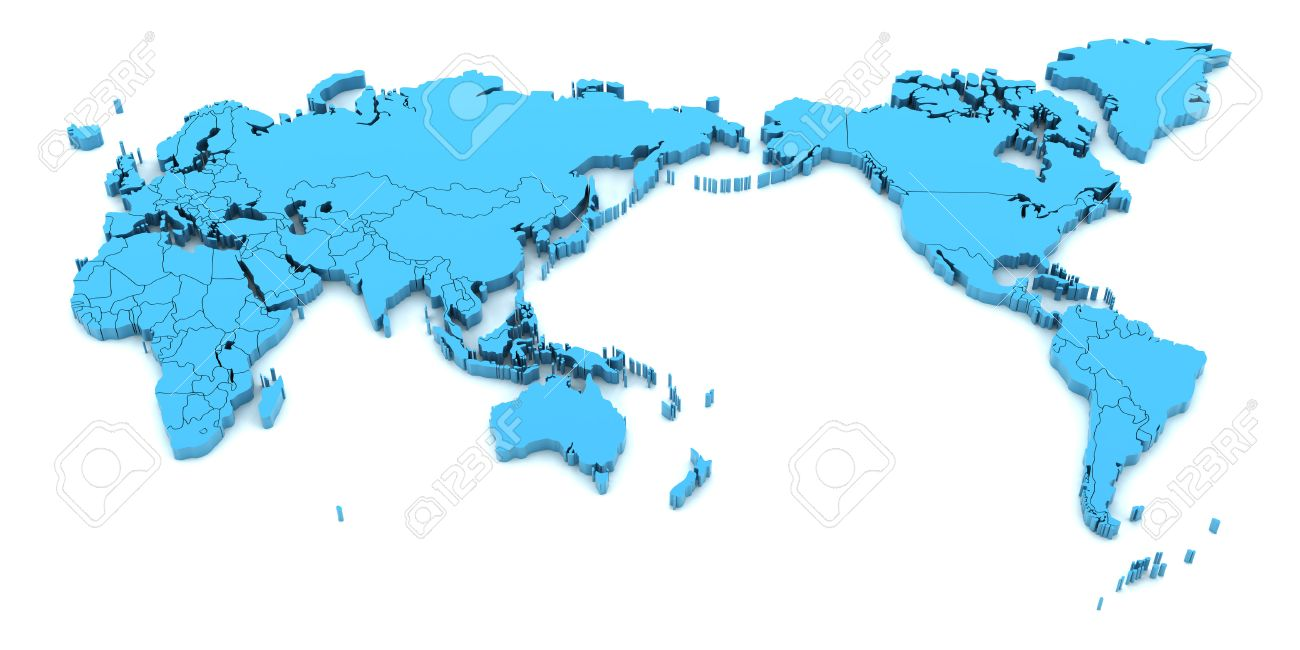 Map Of Asia 3d.Blue World Map With Asia At The Center 3d Render