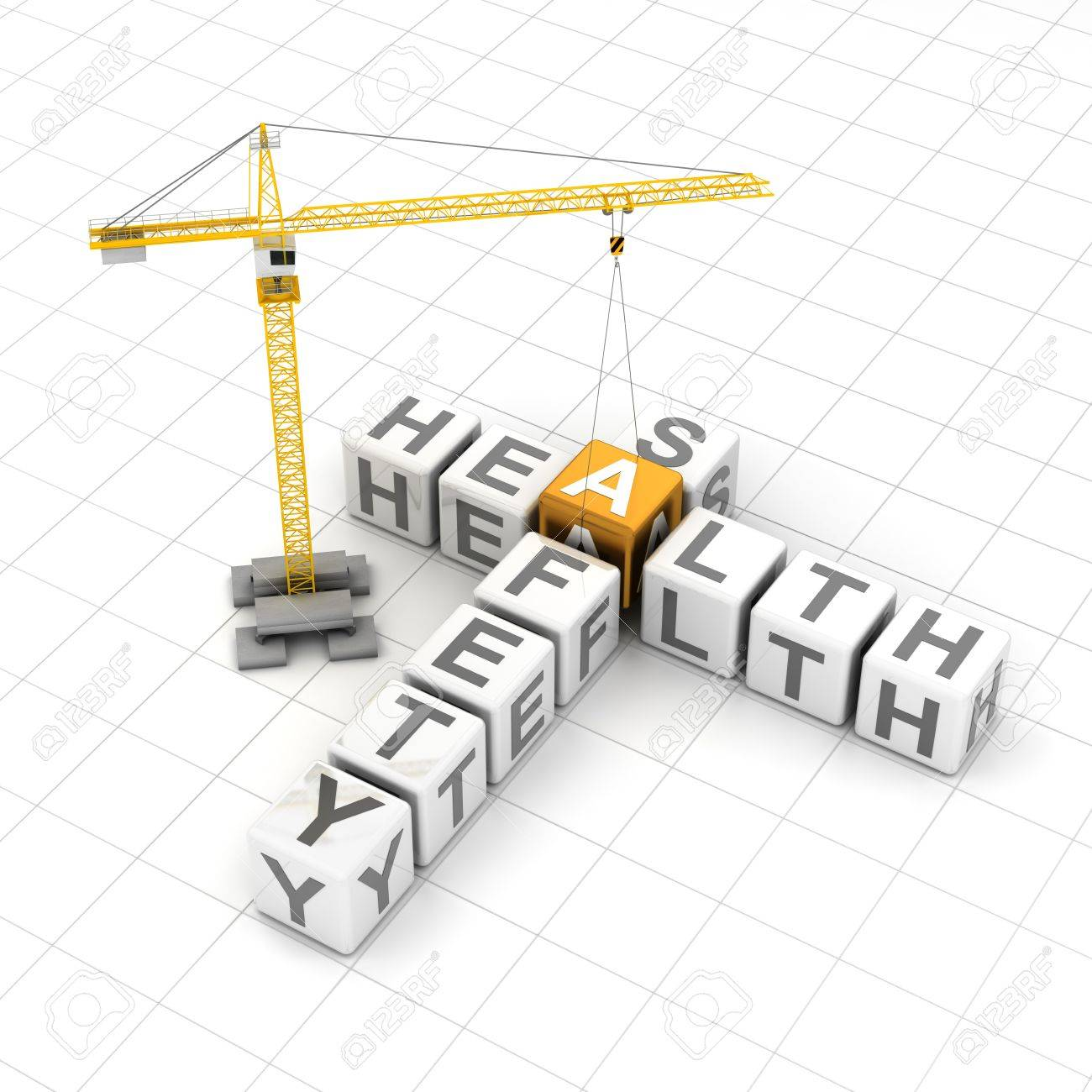 Health And Safety Crossword Puzzle With Crane 3d Render Stock Photo