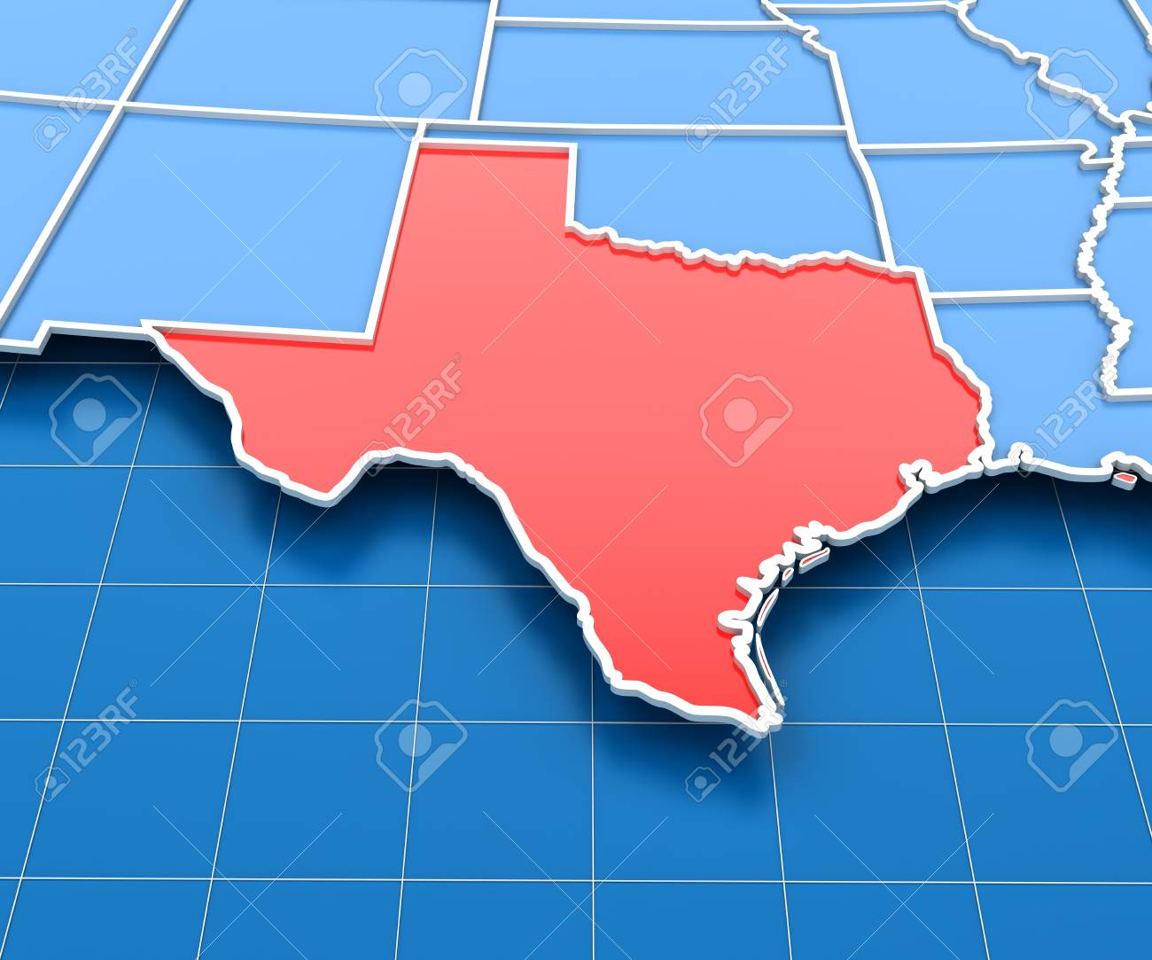 3d Render Of Usa Map With Texas State Highlighted In Red Stock Photo - Us-map-with-texas-highlighted
