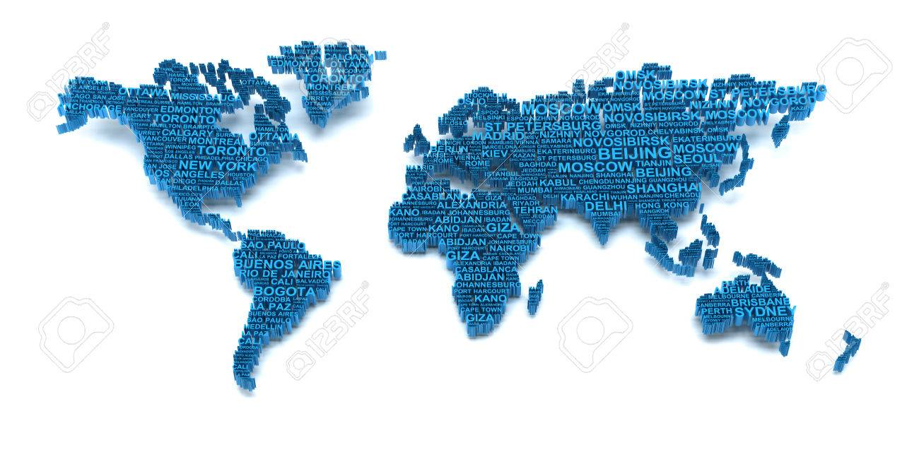 3d Render Of World Map Formed By Names Of Major Cities Stock Photo