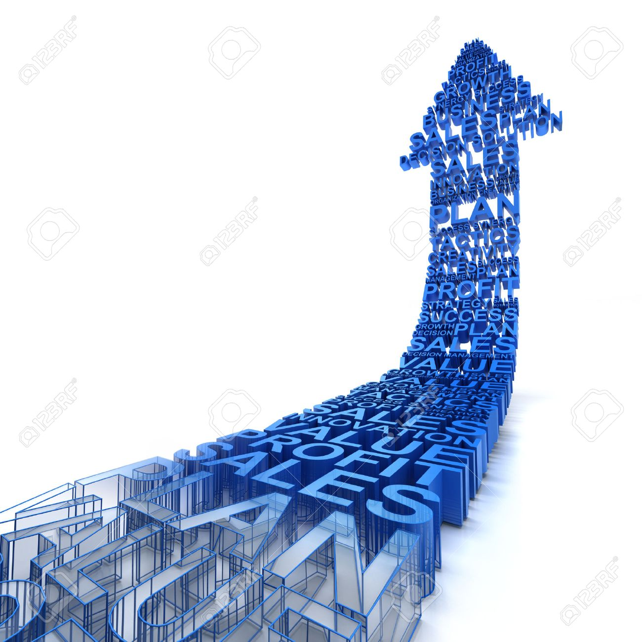 3d arrows formed by business related words, fading from wireframe to solid - 40319542