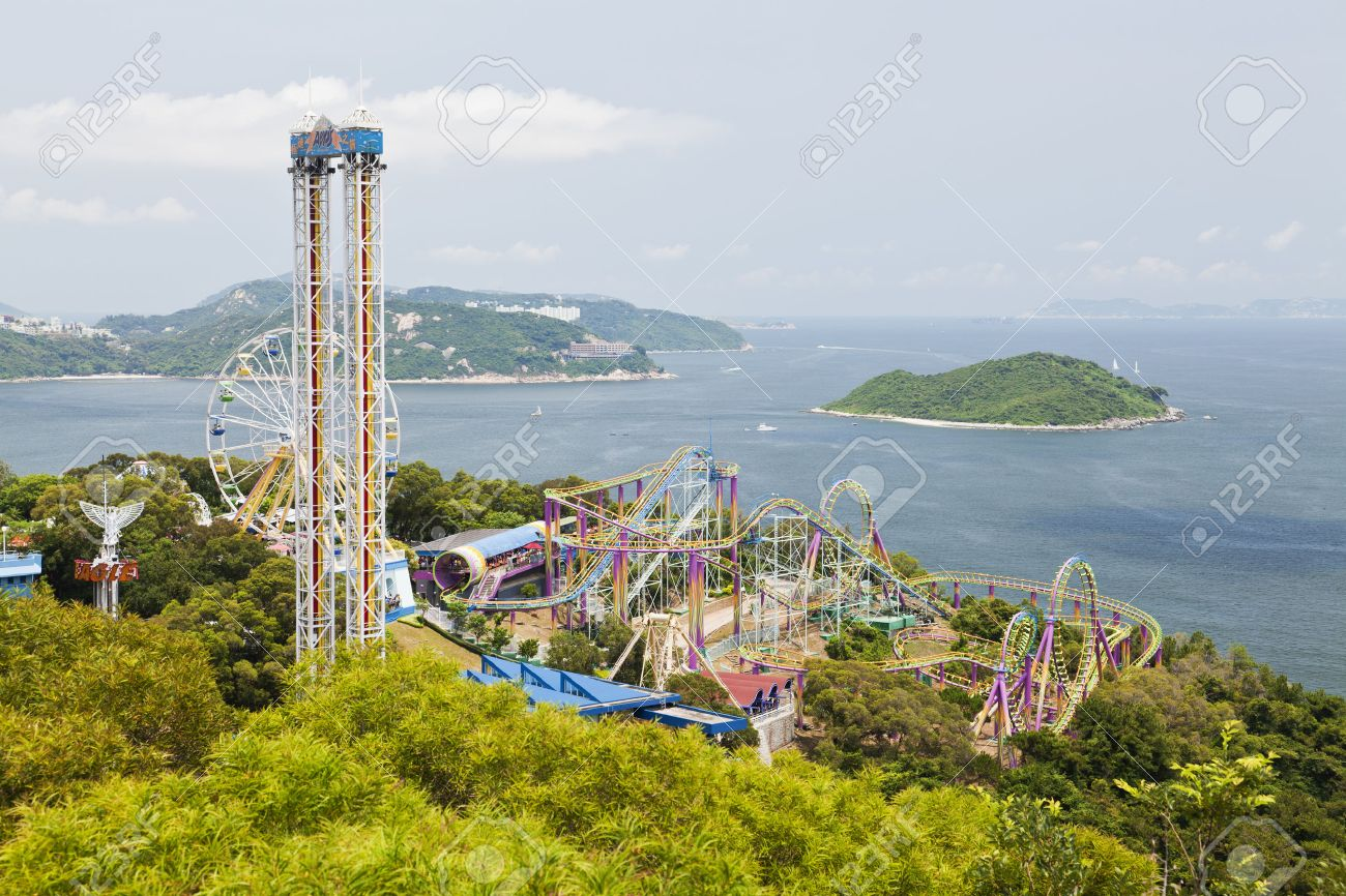 Hong Kong, China - July 9, 2011: Rides in the Ocean Park Hong Kong. It is one of the most popular travel destinations in Hong Kong, especially among tourists from the mainland. - 42179366