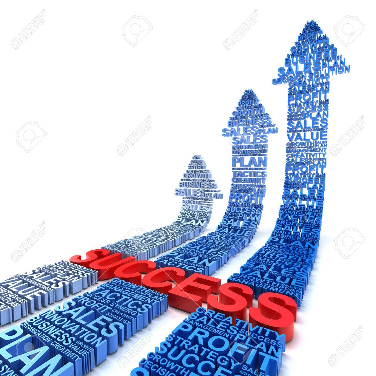 Business success arrows, 3d render, white background - 42083876