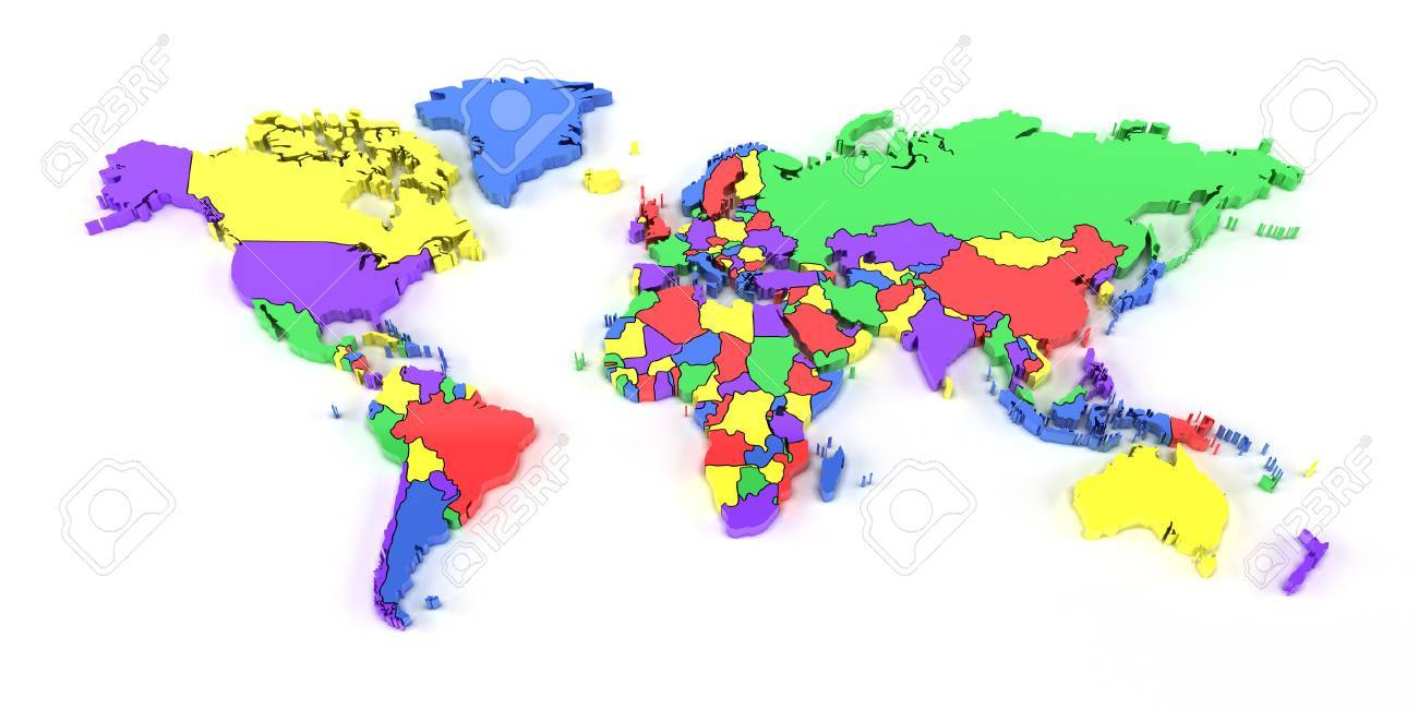Map Of The World 3d.Colourful World Map With National Borders 3d Render Stock Photo