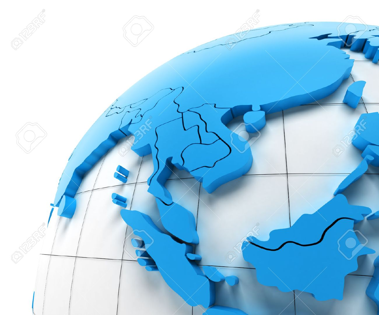 Globe of Southeast Asia with national borders, 3d render - 43120778