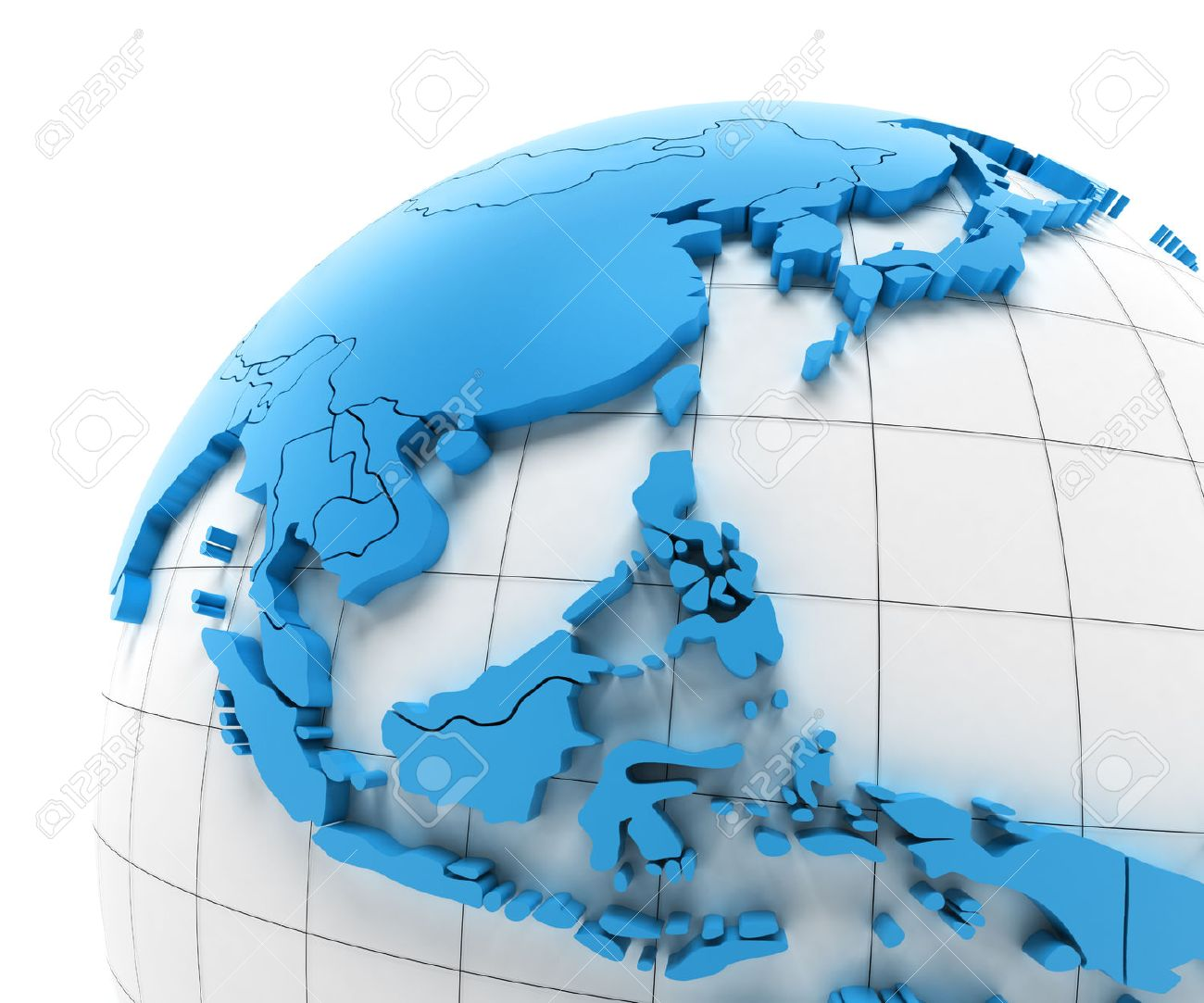 Globe of Southeast Asia with national borders, 3d render - 43542013
