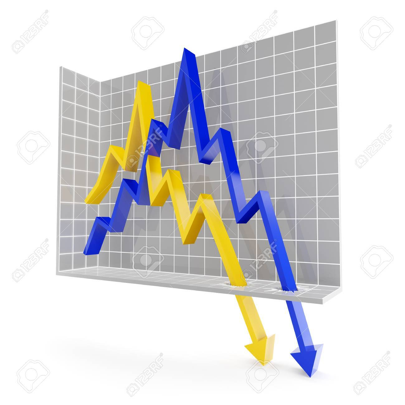 line chart with falling trend, 3d render stock photo, picture and