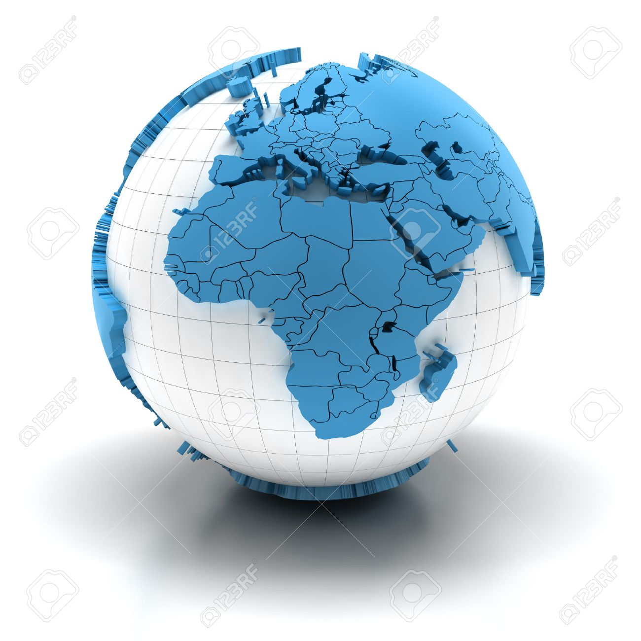 Globe with extruded continents and national borders, Europe and Africa region - 44129125