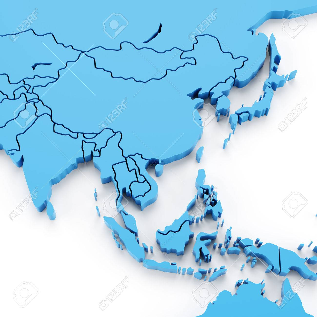 Map Of Asia 3d.Extruded Map Of Asia With National Borders 3d Render