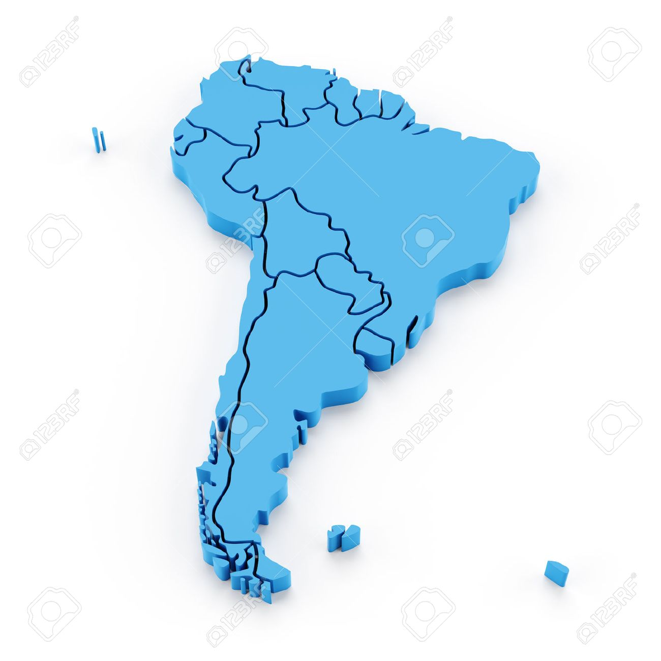 3d Map Of South America.Extruded Map Of South America With National Borders 3d Render