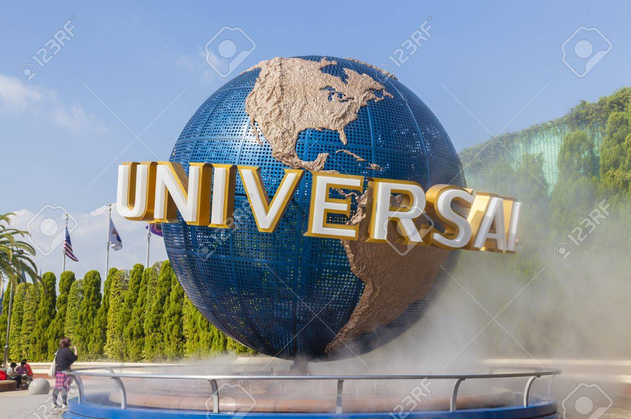 Osaka, Japan - October 27, 2014: View of tourists and Universal Globe outside the Universal Studios Theme Park in Osaka, Japan. The theme park has many attractions based on the film industry. - 46768008