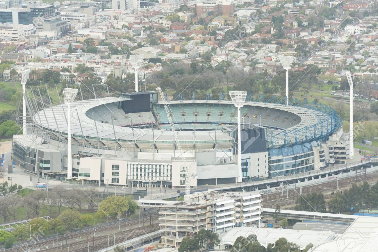 Melbourne, Australia - Sep 22, 2015: Aerial view of the Melbourne