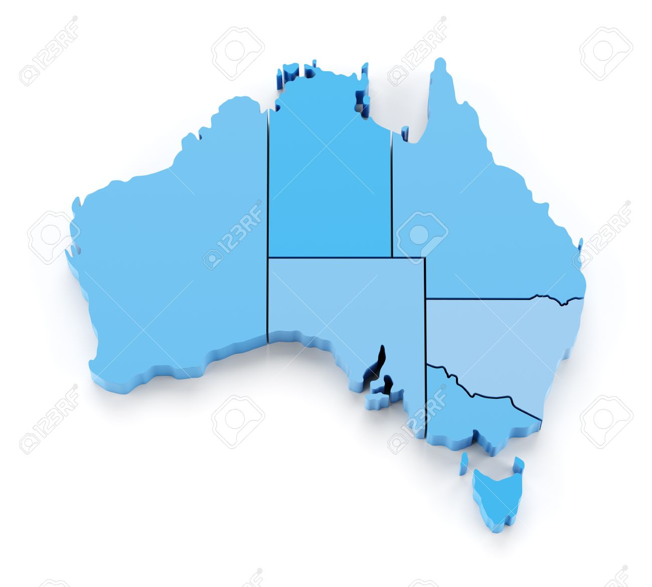 Map Of Australia With State Borders.Extruded Map Of Australia With State Borders 3d Render