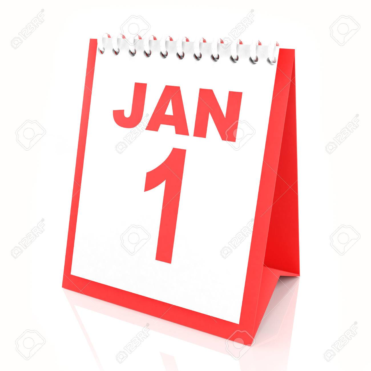 new year calendar showing january 1 3d render stock photo 48244678