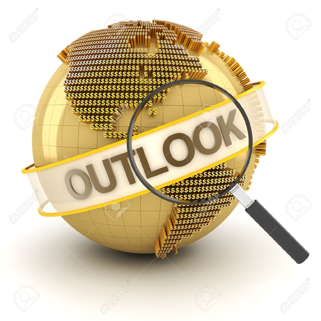 Global financial outlook symbol with globe, 3d render, white