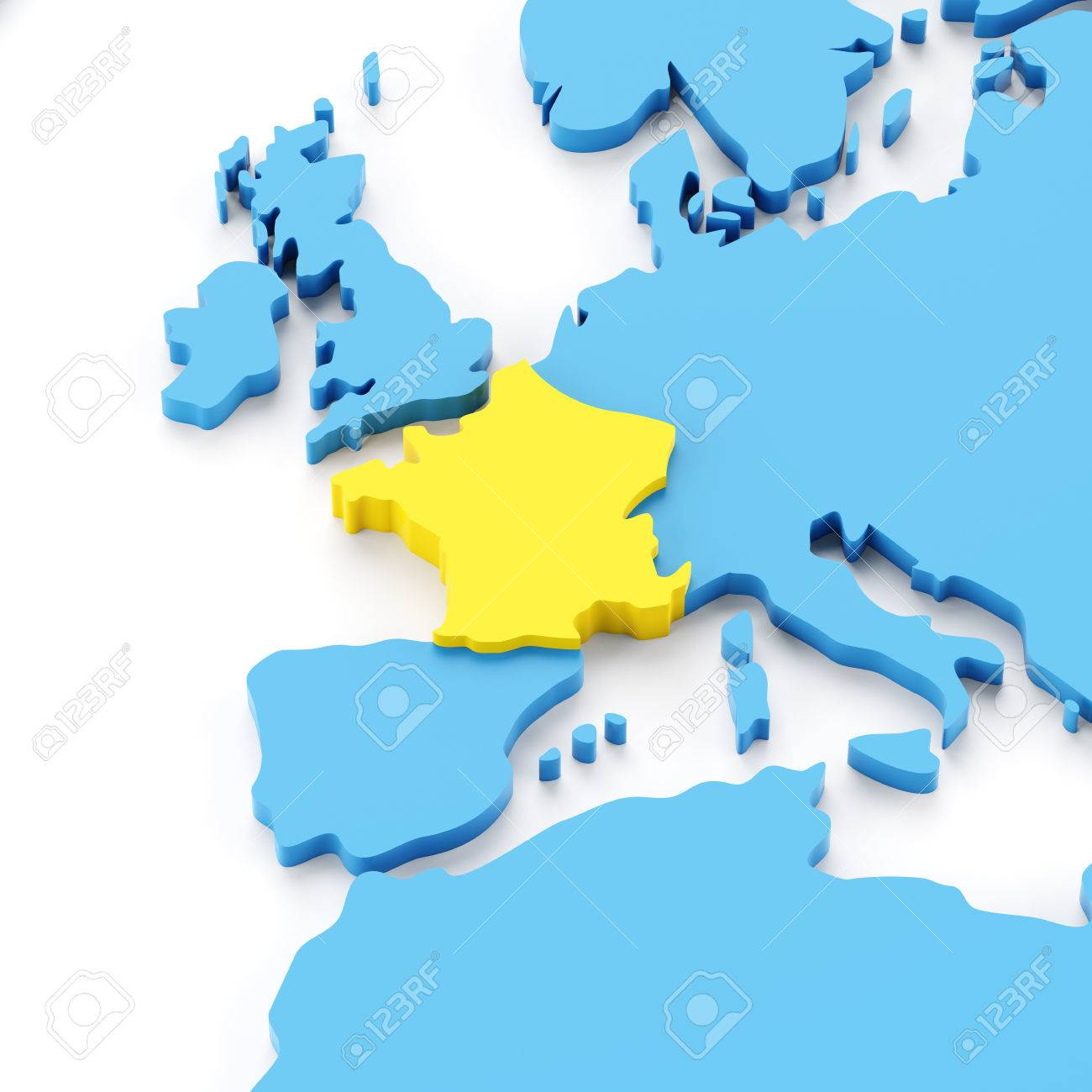 Map europe with france highlighted in yellow 3d render white map europe with france highlighted in yellow 3d render white background stock photo gumiabroncs Images