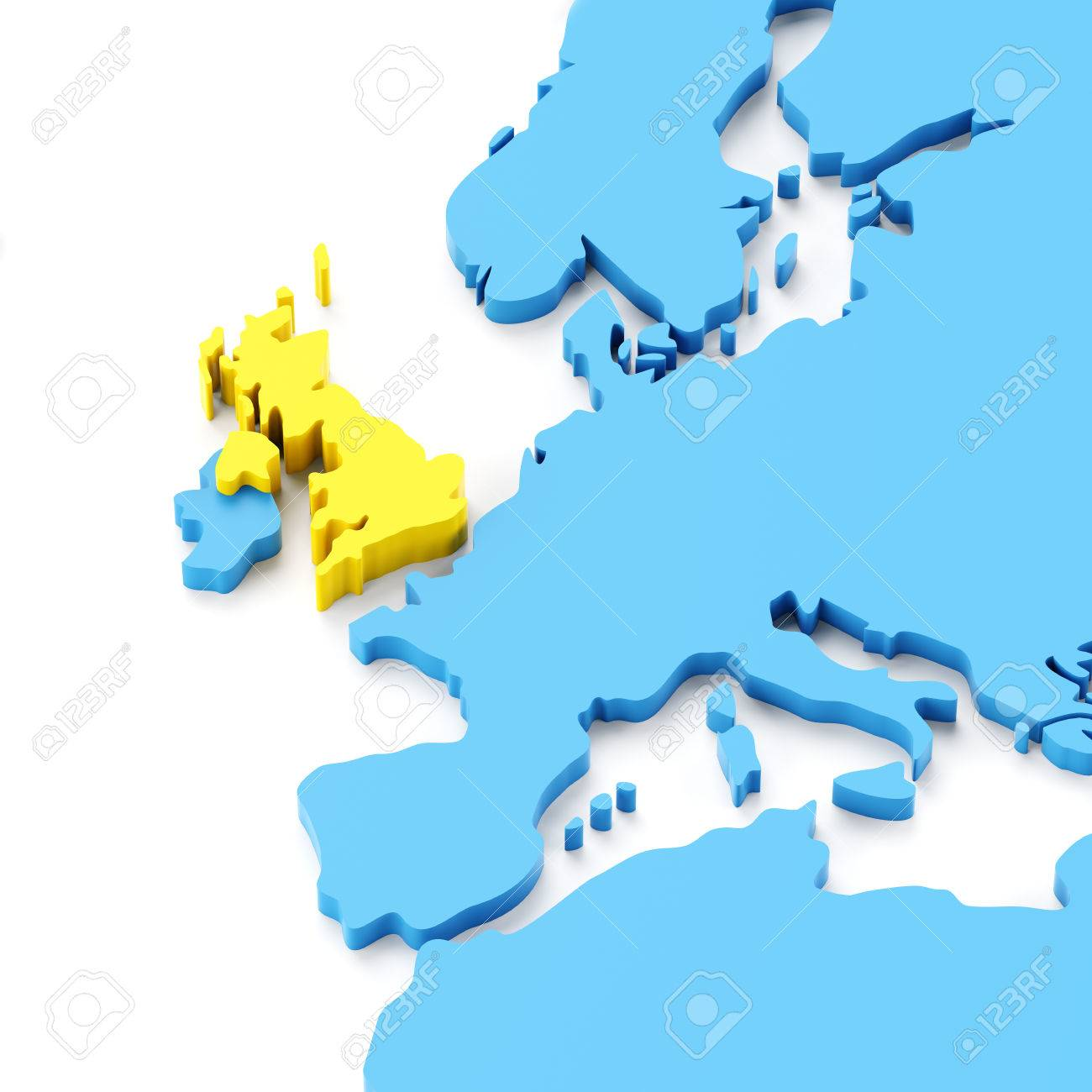 Map Of Europe With UK Highlighted In Yellow 3d Render Photo – Europe and Uk Map