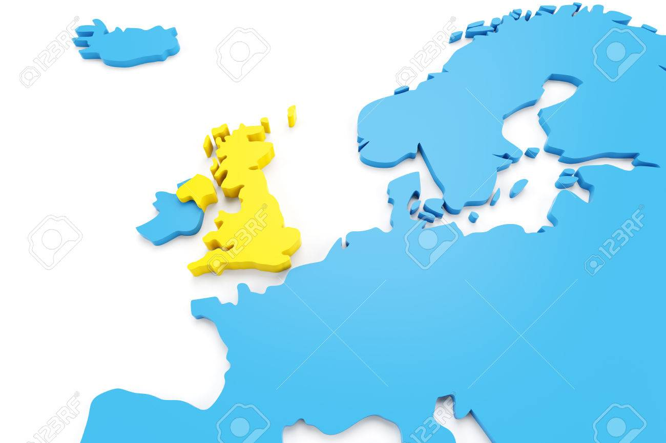 Map Of England Europe.Map Of Europe With Uk Highlighted In Yellow 3d Render