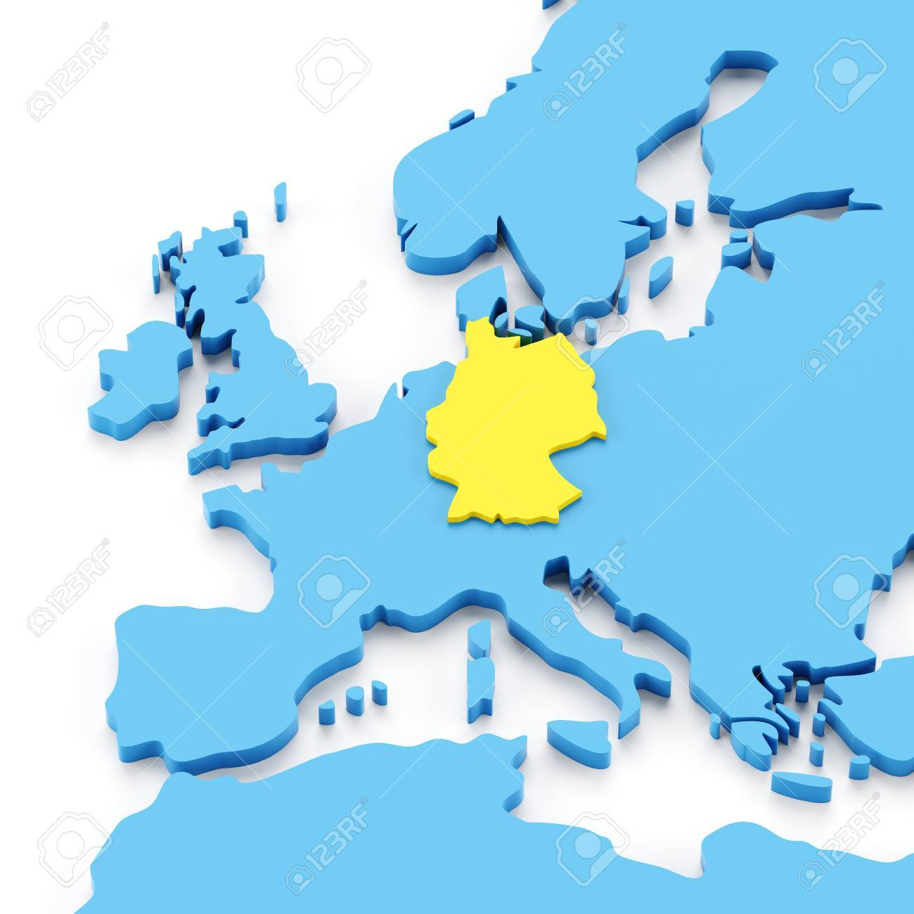 Map of europe with germany highlighted in yellow 3d render stock map of europe with germany highlighted in yellow 3d render stock photo 52038991 gumiabroncs Image collections
