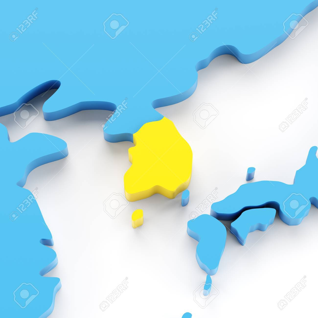 Map of south korea highlighted in yellow 3d render white map of south korea highlighted in yellow 3d render white background stock photo gumiabroncs Images