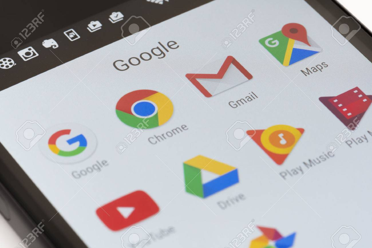 Melbourne, Australia - May 23, 2016: Close-up view of Google apps on an Android smartphone, including Chrome, Gmail, Maps. - 57064763