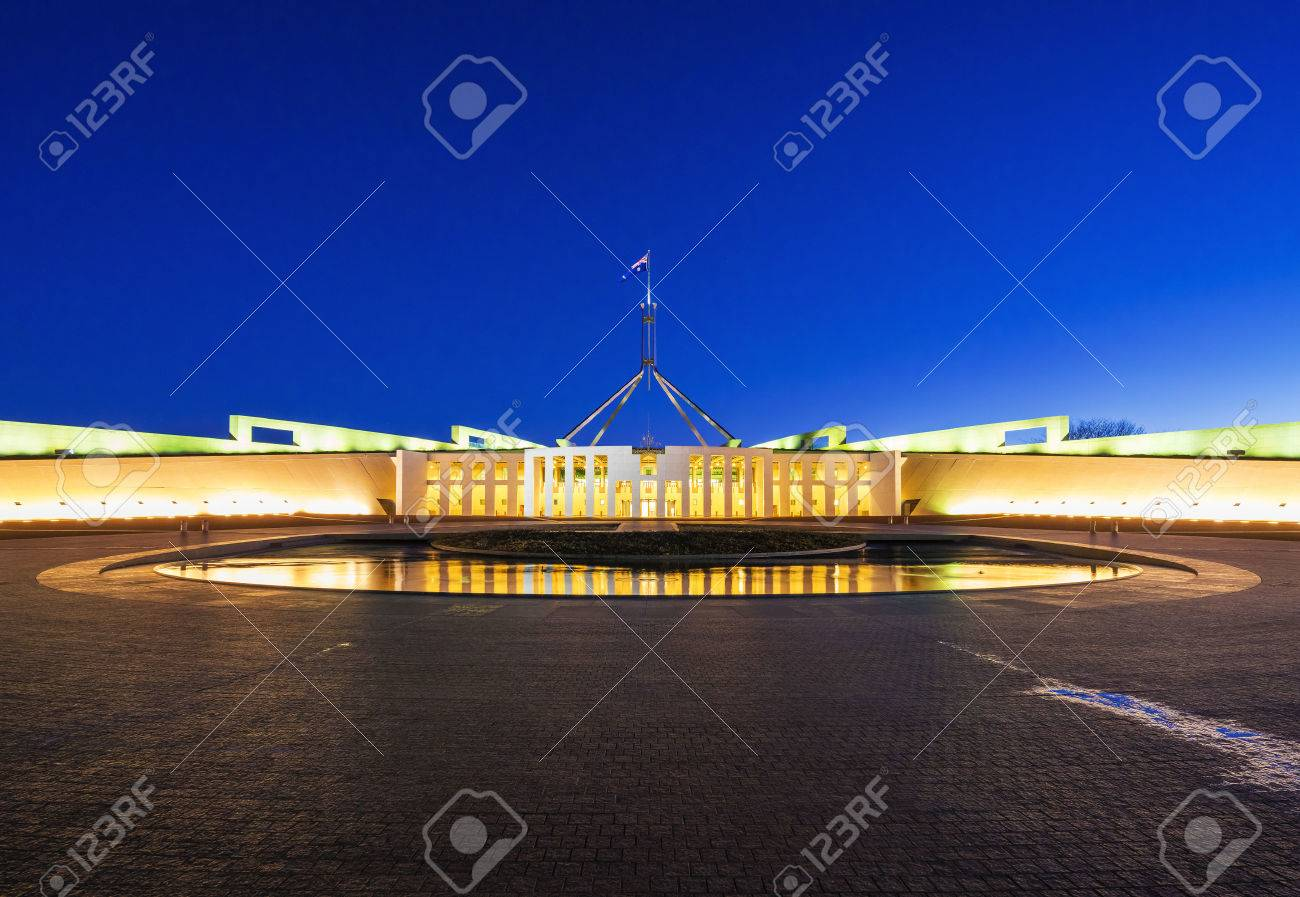 Parliament House in Canberra, Australia at night - 62328562