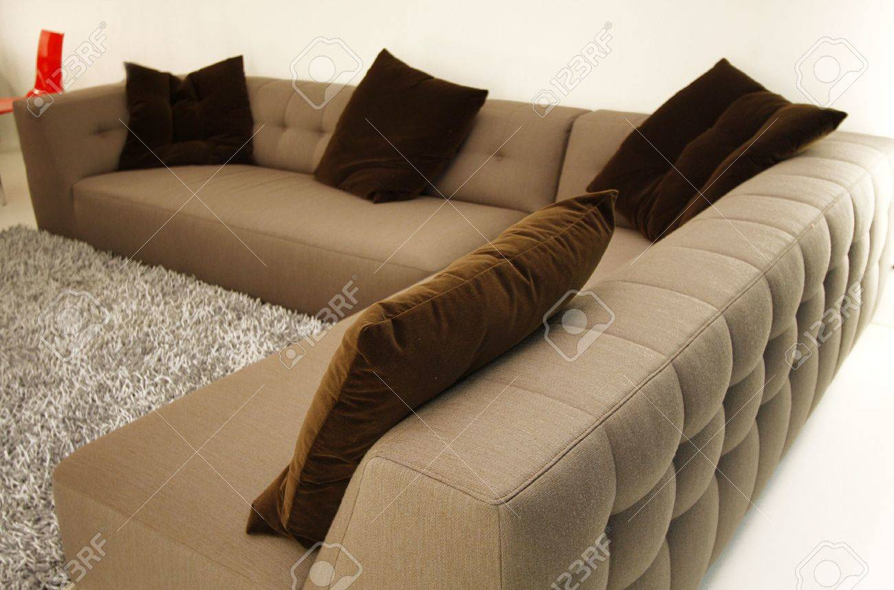 Sofa Set For Living Room Sofa Set With Cushions In A Living Room Stock Photo Picture And