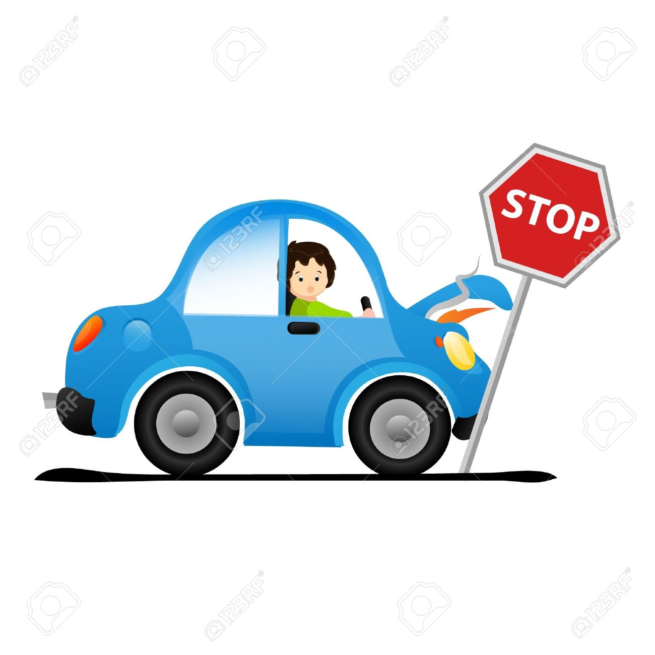 Emergency stop icon clipart emergency off - Emergency Stop Car Crash Illustration