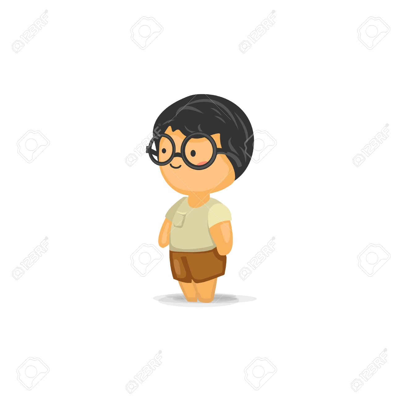 cute chibi boy with glasses royalty free cliparts vectors and