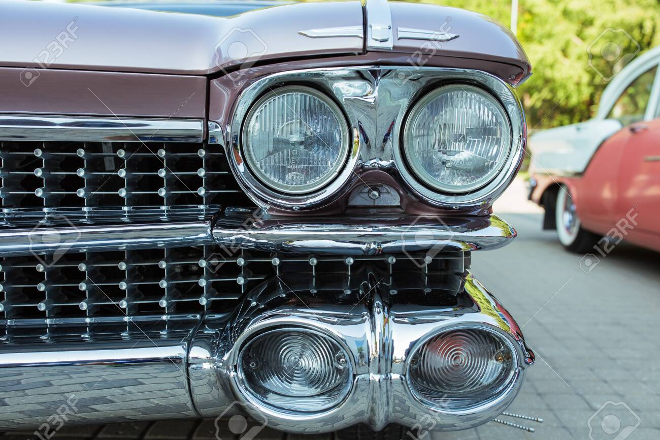 City Riga, Latvian republic. Retro car party. Oldtimer cars at the motor museum. Urban city view. 17 August 2019. - 142675393
