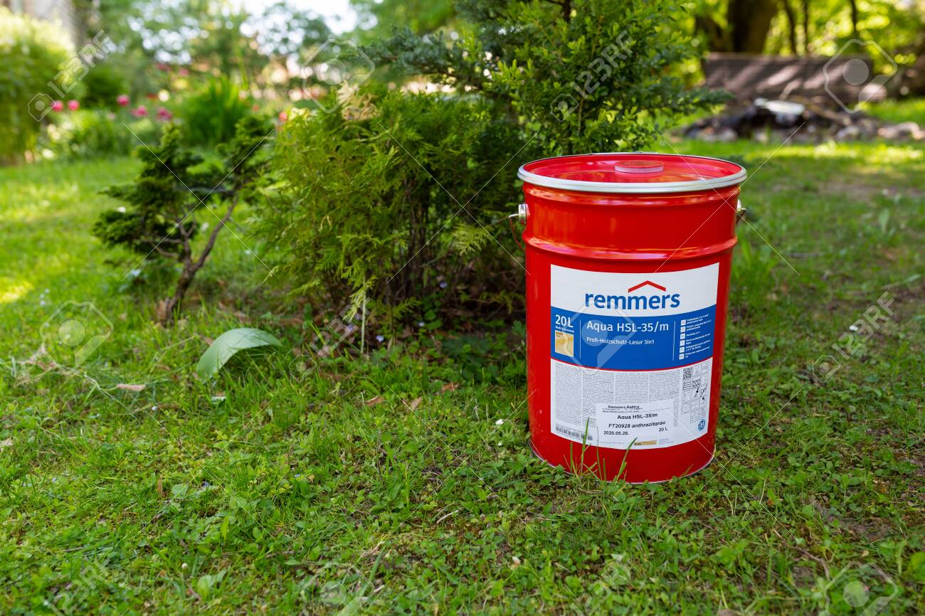 City Cesis Latvia Paint Bucket 20 Liters And Grass 29 05 2020 Stock Photo Picture And Royalty Free Image Image 148559949