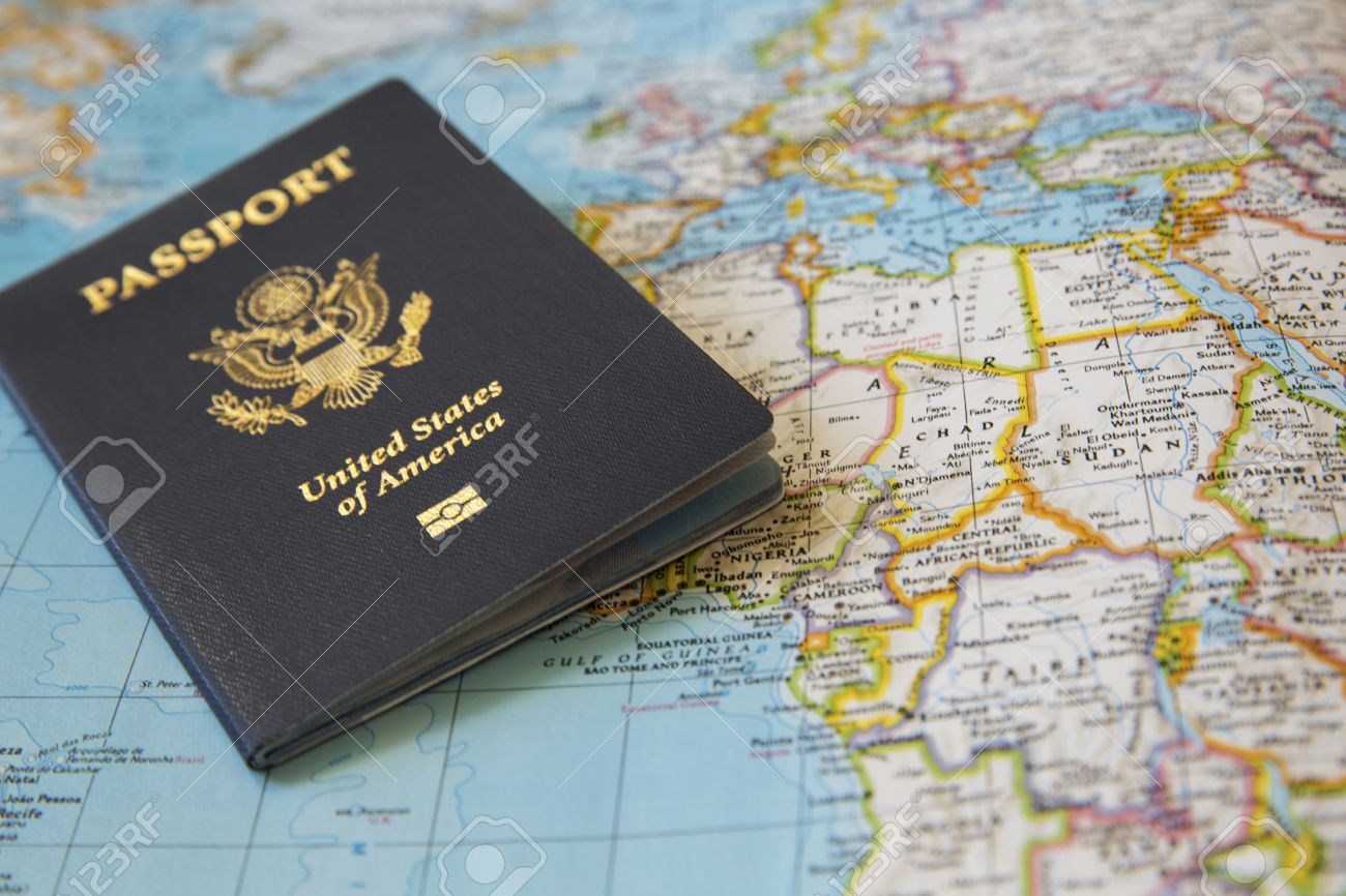 us passport on the world map stock photo picture and royalty free