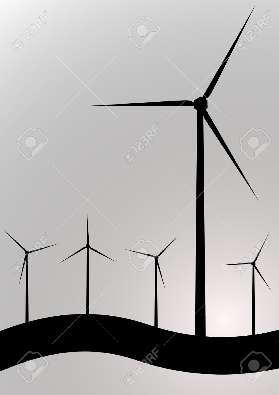 black and white wind turbine Stock Vector - 3303048